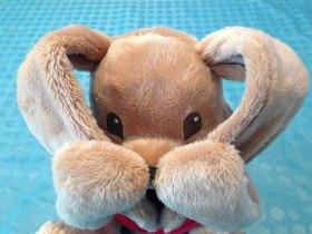 Caché derrière ses oreilles, le lapin n'attend qu'une chose, faire rigoler les touts petits.
